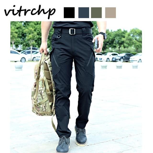 VITRCHP 2021 Mens Jogging Track Pant Multiple Pocket Elasticity Military Urban Commuter Tacitcal Trousers Slim Fat Cargo 5