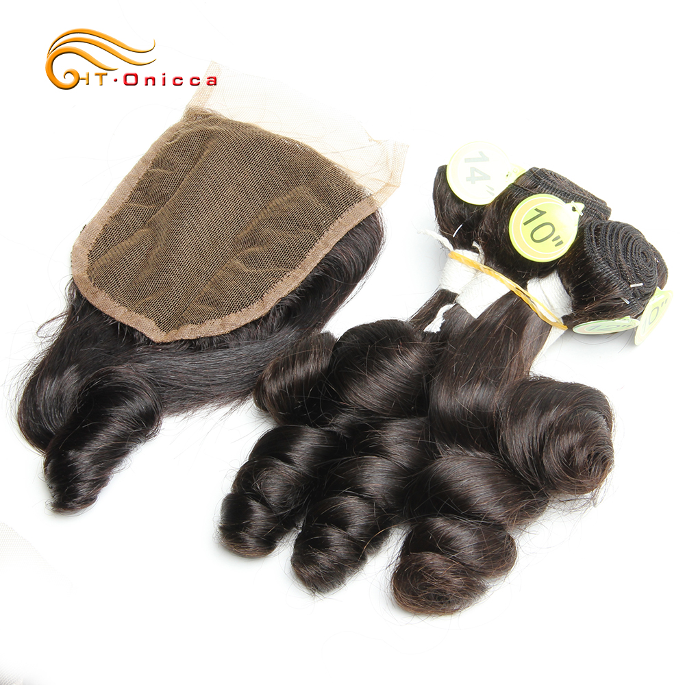 Hair Extension Human Hair Bundles With Closure Funmi Curly Human Hair Peruvian Remy Hair With Baby Hair