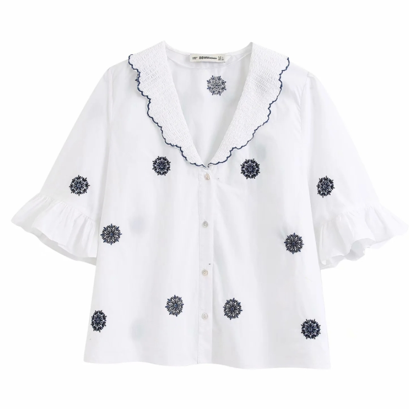 2020 New Women Patchwork Embroidery Casual Kimono Blouses Ladies Butterfly Sleeve Chic Smock Shirts Femininas Blusas Tops LS6398