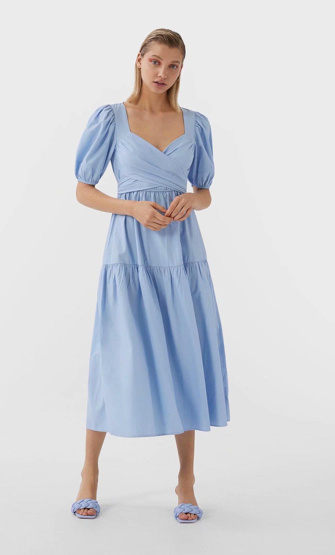 2020 New Spring Summer European V-neck Poplin Splicing Zaraing Women Dress Vadiming Sheining Female Blue Dress WEW63.72