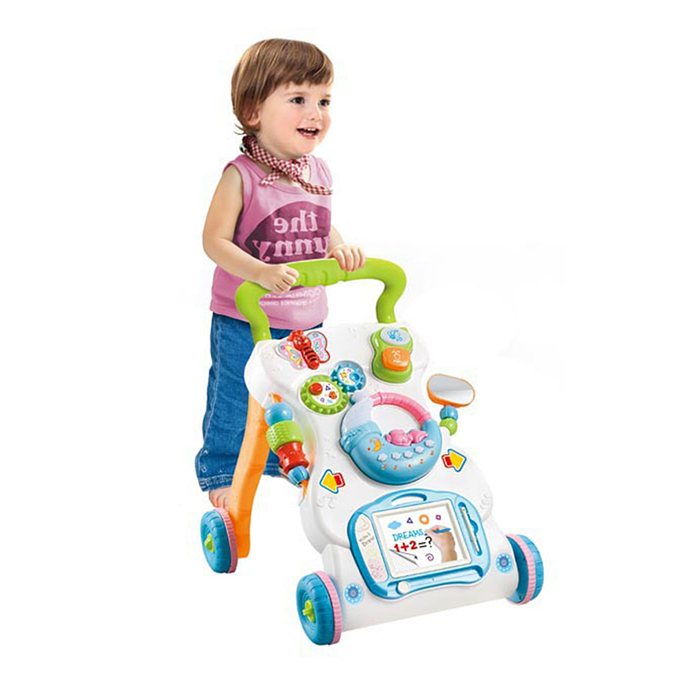 Infant Exercise Hearing Learn Walk Baby Walker Toddler Trolley Sit-to-Stand ABS Musical Walker With Adjustable Height
