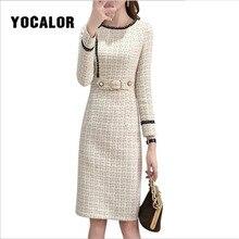 Tweed Party Bodycon Dress Women Spring Vintage Wool