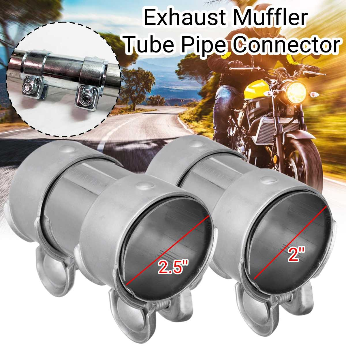 2 inch 2.5 inch Exhaust Muffler Tube Pipe Connector Joiner Sleeve Clamp Adjustable Stainless Steel Kit DIY Tool Car Accessories