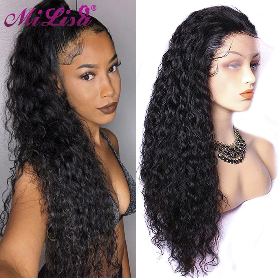 Water Wave Wig Human Hair Lace Front Wigs For Black Women Pre Plucked With Baby Hair Bangs Remy Brazilian Lace Frontal Wig 150%