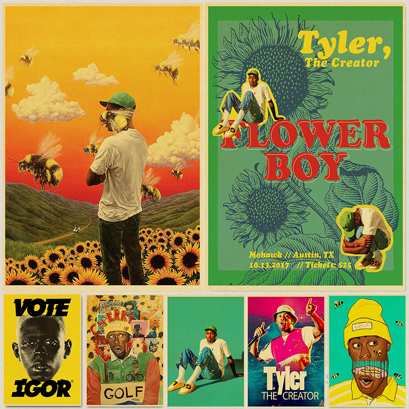 Tyler The Creator Flower Boy Band Music Cover Hip Hop Rapper Star Retro Poster Art Painting For Home Room Decor Wall Stickers
