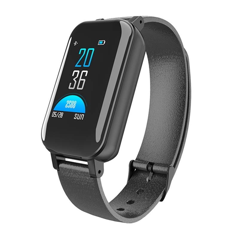 <font><b>T89</b></font> <font><b>Tws</b></font> Smart Binaural Bluetooth Headphone Fitness Bracelet Heart Rate Monitor Smart Wristband Sport Watch Men Women Black image