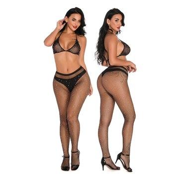 2019 nuevas medias negras medias de red de lencería erótica para mujer conjunto de Medias brillantes perforación strass Halter Bra + Pantyhose Leggings Bikini