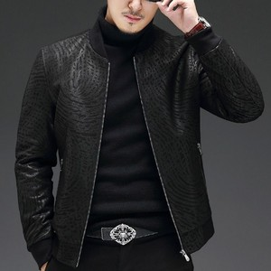 Image 4 - High Quality Sheepskin Slim Fit Mens Autumn Jackets Long Sleeve Zip Genuine Leather Casual Black Male Outerwear Coats Plus Size
