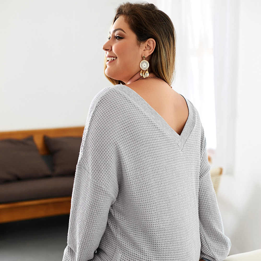 2019 New Deep V Sweater Women Plus Size 4xl Loose Sweater Tops Bat Sleeve Knit Pullovers Gray Color Basic Casual Pull Femme
