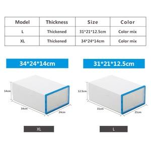 Image 3 - 10 pc 透明靴箱肥厚透明防塵靴収納ボックス canbe 積み重ねコンビネーションシューズキャビネット靴オーガナイザー