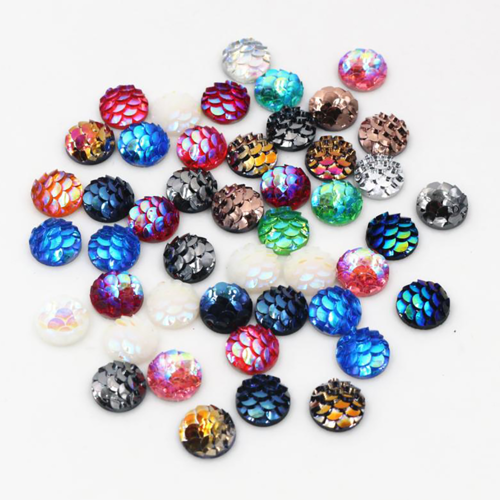 New Fashion 40pcs/lot 8mm Mix Colors Fish Scales Style Flat Back Resin Cabochons Cameo