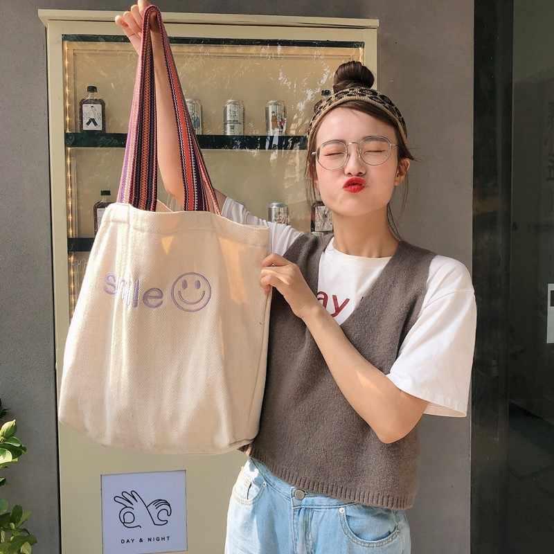 גדול קיבולת נשים בד Tote קניות תיק חיוך מכתב הדפסת כתף Shopper תיק כותנה בד אקולוגי נקבה תיקי 2020