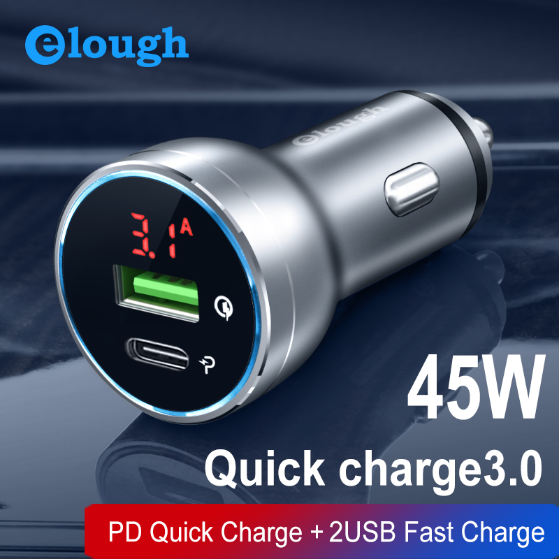 Elough 45W Car Charger for iPhone Samsung Xiaomi Huawei Cigarette Lighter Quick Charge 4.0 3.0 Daul USB Type C Car Phone Charger|Car Chargers| |  - title=