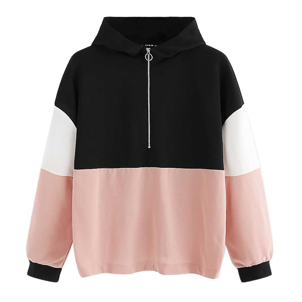 JAYCOSIN Fashion Women Zipper Hoodie Color Block Sweatshirt Casual Simple Loose O-Neck Comfortable Soft Jumper Blouse