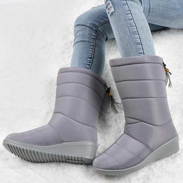 กันน้ำฤดูหนาวหญิงลงรองเท้าผู้หญิงรองเท้าผู้หญิงหิมะ Bootie WEDGE ยาง Plush พื้นรองเท้า Botines Mujer 2020