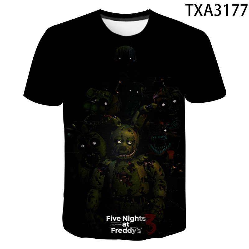 Fnaf 3D T Shirt 2020 Baru Pria Wanita Anak Lima Malam Di Freddy Musim Panas Streetwear Anime Atasan Anak Laki-laki Anak Perempuan anak-anak Tee Pakaian