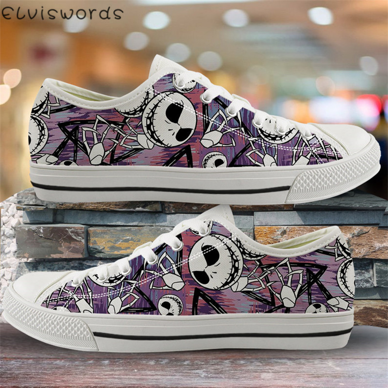 ELVISWORDS Skull Print Breathable Women Flats Casual Shoes The Nightmare Before Christmas Vulcanized Shoes Students Canvas Shoes