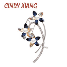 CINDY XIANG Rhinestone Flower Brooch Pearl Pin Elegant Wedding Brooches For Women Fashion Jewelry Autumn Winter Accessories New cindy xiang purple color crystal flower large brooches for women autumn coat brooch pin elegant beautiful fashion jewelry new