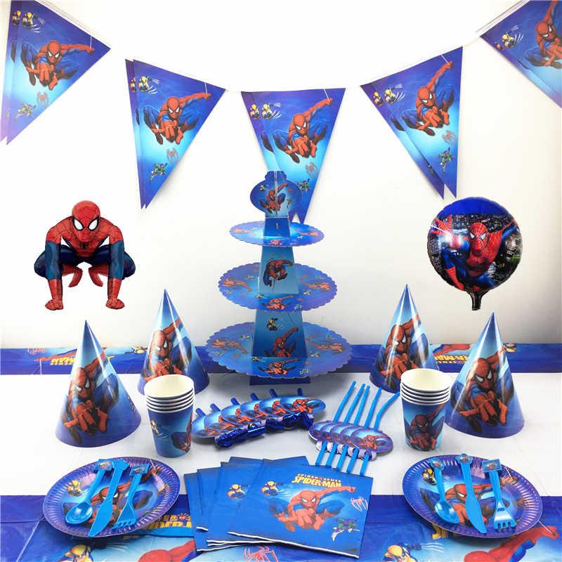82 Cái/bộ Spiderman Sinh Nhật Tiếp Tế Trẻ Em Dùng Một Lần Khăn Trải Bàn Tấm Cốc Khăn Tắm Cho Bé Siêu Anh Hùng, Trang Trí Tiệc