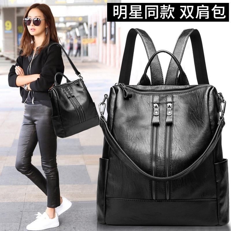 Fashion Women Bag Backpack Real Leather Female Anti-theft Backpack Travel School Shoulder Bag Soft Baby Maternity Bag For Mom