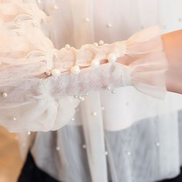 Spring Beading Mesh Blouses Women Sweet Lantern Sleeve Pearls Gauze Blouses Ladies Elegant Shirt Tops Stand Collar Chiffon S-2XL 6