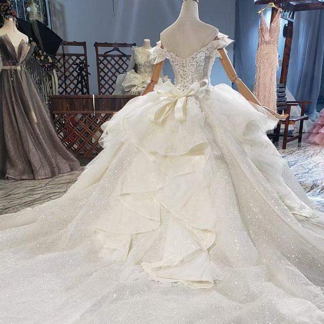 HTL1839 Luxurious Sequined Beading Crystal Pearls Wedding Dress 2020 V-Neck Short Sleeve Ball Gowns 2