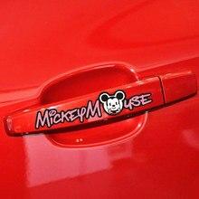 Aliauto 4 X забавная Автомобильная дверная ручка наклейка и наклейка Микки Минни Маус аксессуары для Volkswagen Golf Ford Focus 2 Opel Toyota