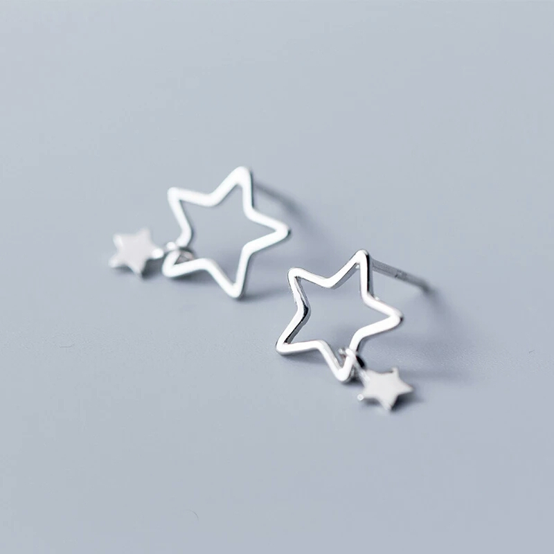 100% 925 Sterling Silver Five-pointed Stars Earrings for Women Tiny Hollow Out Star Charm Earrings Gift For Girls Jewelry E8783