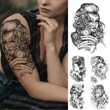 Waterproof Temporary Tattoo Sticker Catrina Day of The Dead Flash Tattoos Beauty Girl Portrait Body Art Arm Fake Tatoo Women Men