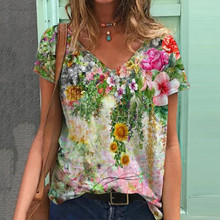 Graphic T-Shirts Women Summer 3D Flower Print V-Neck Short Sleeve Tee Shirts Casual Loose Oversized T-Shirt Y2K Top Plus Size