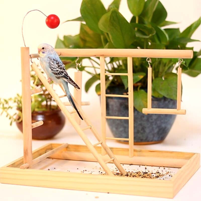 Wood Bird Playpen Parrot Playland Playset Training Amusement Park Bird Exercise Gym Climbing Ladder Platform Bird Swing