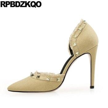 Rivet Canvas Crossdresser Pointed Toe Navy Blue Pumps Denim 8cm 11 43 Small Size Women Kitten Big High Heels 12 44 Shoes Stud