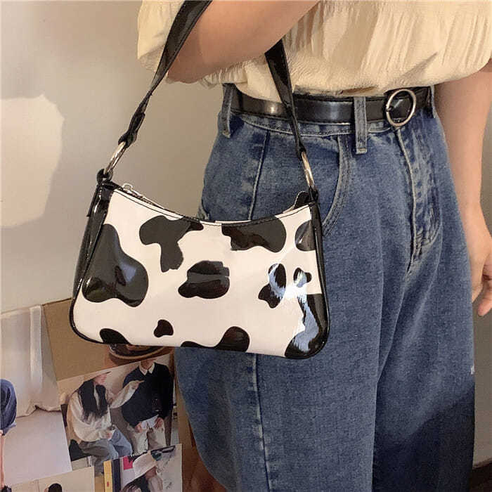 Retro Cow Pattern Women Baguette Handbags Fashion Leather Ladies Small Underarm Bag Female Daily All Match Shoulder Bags Clutch