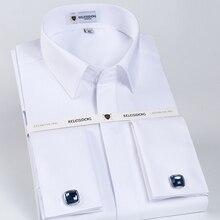 Masculino clássico francês manguito botão escondido vestido camisa de manga longa formal negócio padrão ajuste camisas brancas (abotoaduras incluídas)