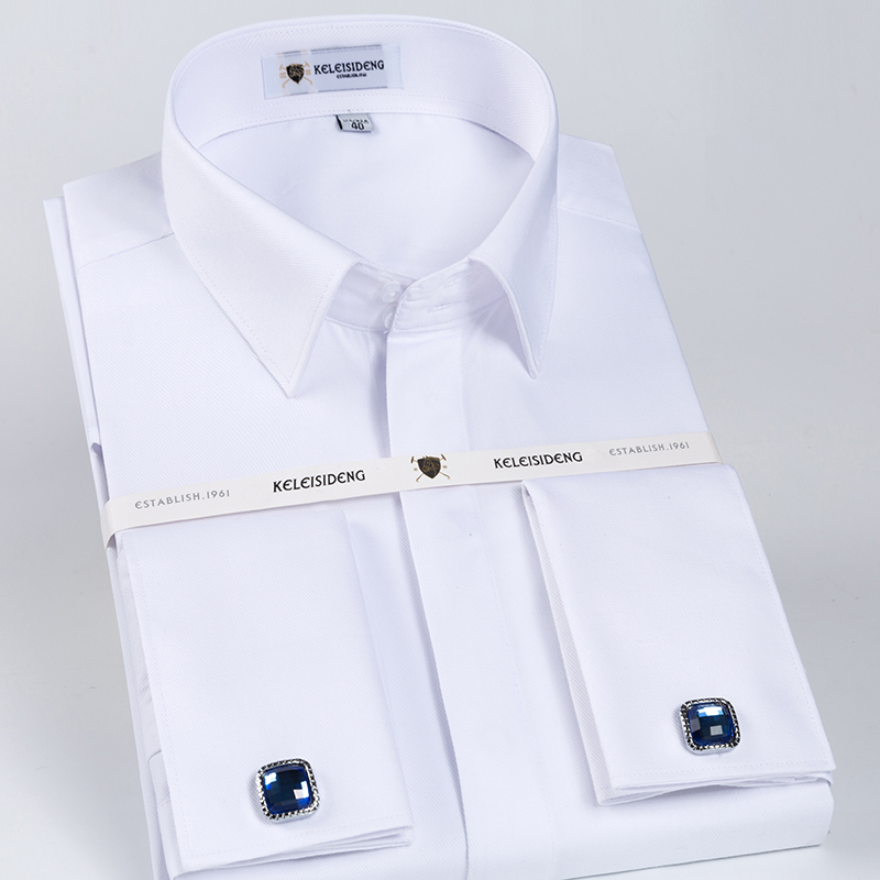 Men's Classic French Cuff Hidden Button Dress Shirt Long-sleeve Formal Business Standard-fit White Shirts (Cufflinks Included)