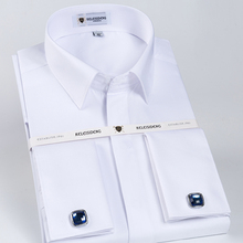 Mens Classic French Cuff Hidden Button Dress Shirt Long sleeve Formal Business Standard fit White Shirts (Cufflinks Included)