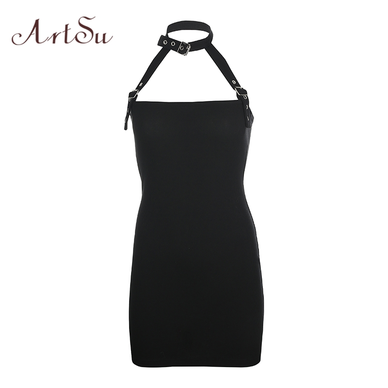 Artsu Harajuku Punk Black Halter Mini <font><b>Dress</b></font> <font><b>Sexy</b></font> Backless <font><b>Bodycon</b></font> <font><b>Women</b></font> <font><b>Dresses</b></font> Sleeveless Gothic Short <font><b>Dress</b></font> Summer Club <font><b>Dress</b></font> image