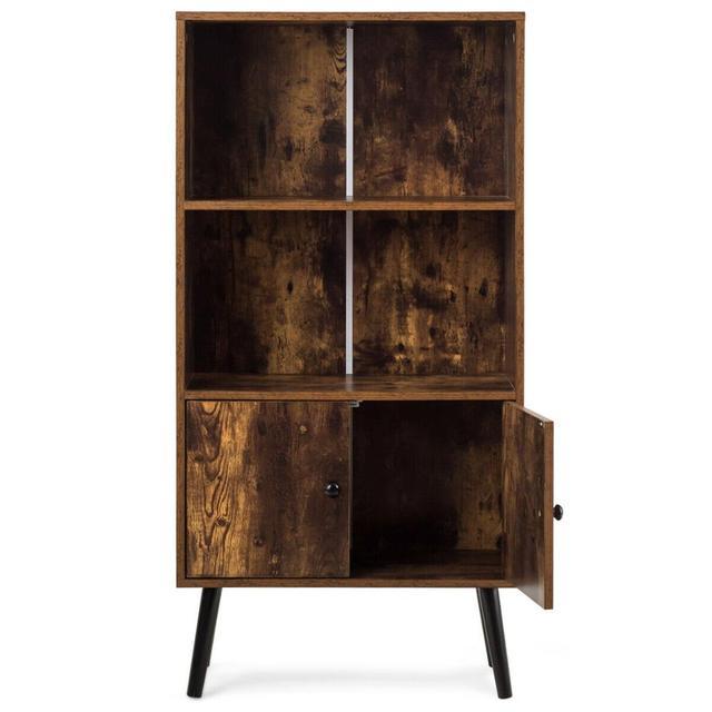 2-Tier Retro Bookcase Bookshelf w/3 Compartment 6
