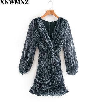 XNWMNZ za women animal print draped dress Mini with a V-neckline long sleeves Asymmetric hem gathering ruffle trims