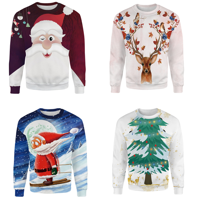 2019 Unisex Men Women S-4XL Santa Claus Christmas Novelty Ugly Christmas Sweater Snowman 3D Printing Hooded Sweater Warm Sweater
