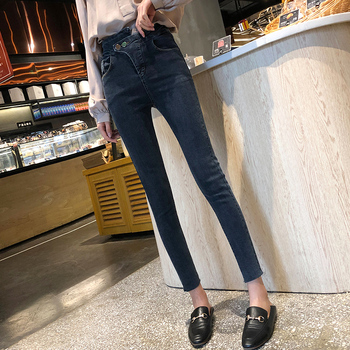 Women's skinny skinny skinny skinny jeans High-waisted blue students look thin and sexy фото
