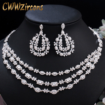 CWWZircons Luxury Shiny Dubai Cubic Zirconia Pave Layered Wedding Necklace Earrings Bridal Jewelry Sets Costume Accessories T453