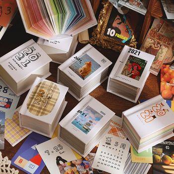 377 sztuk zestaw Vintage kalendarz książka DIY naklejki Scrapbooking etykieta przenośna uwaga 2021 kalendarze Mini Kawaii biurowe tanie i dobre opinie nbyinto 2020 Other Drukowanie kalendarz Ramka na zdjęcia Kalendarz ścienny