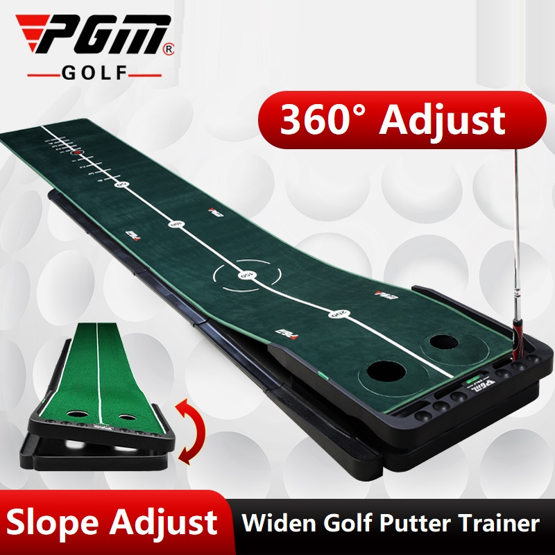 Pgm 3M Indoor Golf Putter Trainer Training Mat Golf Putter Adjustable Slope Green Putter Mini Golf Putting Green Mat