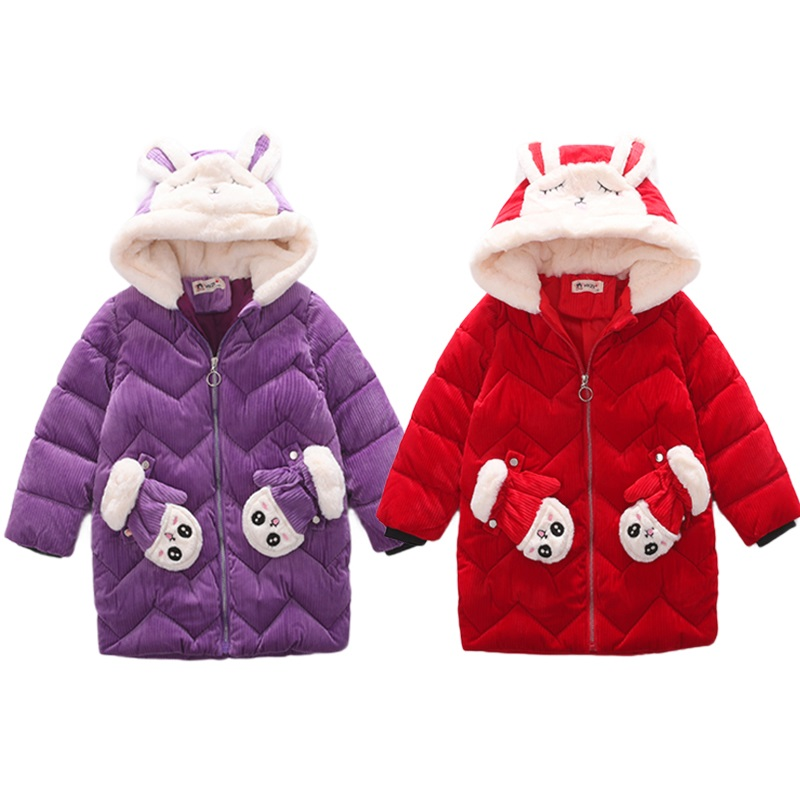 Sweety Girls Solid Color Pom Pom /& Pleat Detail Rabbit Ears Hood Cotton Coat