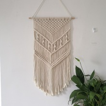 Beech Macrame Woven Wall Hanging Hippie Boho  Home Room Dorm Geometric Decor Tapestry Wall Cloth Tapestry Apartment Decoration