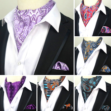 Silk Ascot Handkerchief-Set Cravat-Ties Pocket Paisley Floral Wedding-Party Men Luxury