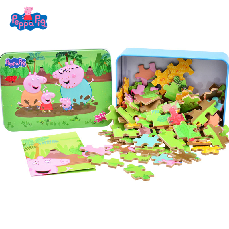 Genuine Peppa Pig Kids Cartoon Puzzle Toy Wooden Jigsaw DIY Assemble Scene Toys Baby Educational Learning Toys For Children Gift