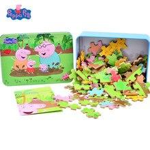 Peppa Pig auténtica rompecabezas de dibujos animados para niños, juguete de rompecabezas de madera para montar, juguetes educativos de aprendizaje para bebés