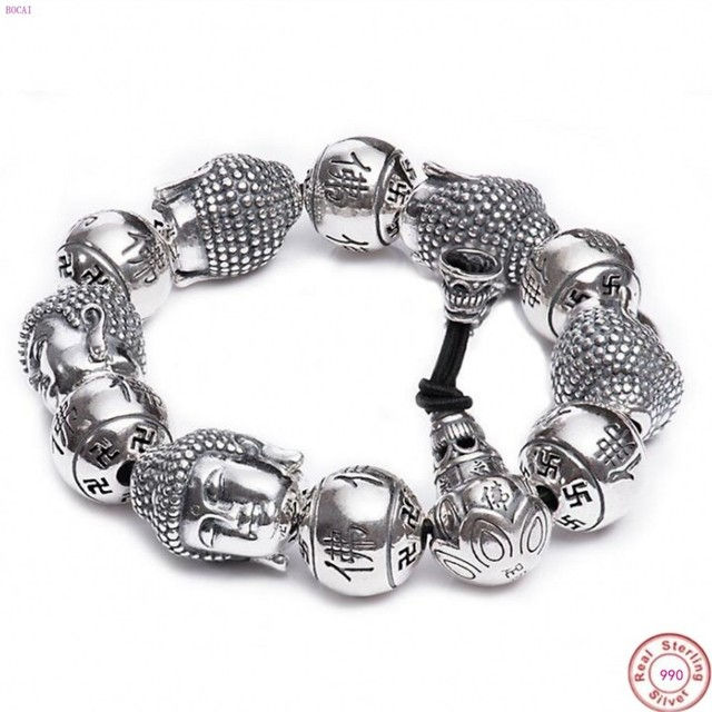 BOCAI  Buddha S999 pure Silver Bracelet Pure silver bracelet man Thai silver mens Buddha beads Bracelet Silver Bracelet for men